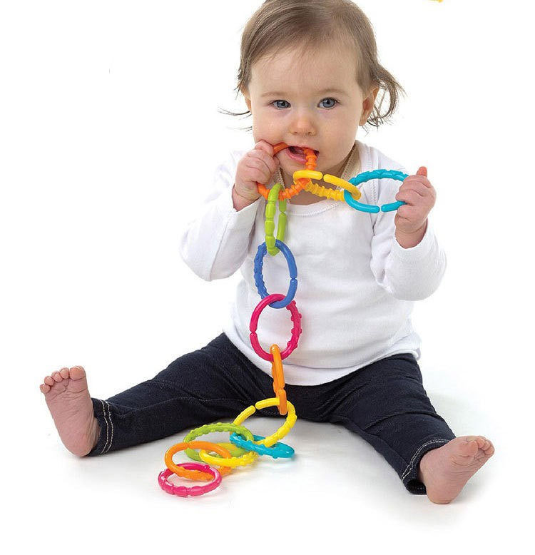 Baby Toys 0-12 Month Rainbow Kids Molars Ring Teether Activity Teddy Chain Clutch Ring Apron Best Gift Doll B0948