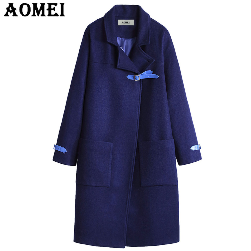 Women Casual Fashion Wool Coats Navy Blue Wear to Work Office Lady Outwear Clothing Tweed 2019 New Fall Sping Overcoat Cape