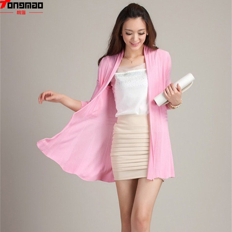 2016New Winter Women Accommodative Long-sleeved Knit Cardigan Thin Funds Hollow Air-conditioned Shirt Sweater Shawl Jacket Somen