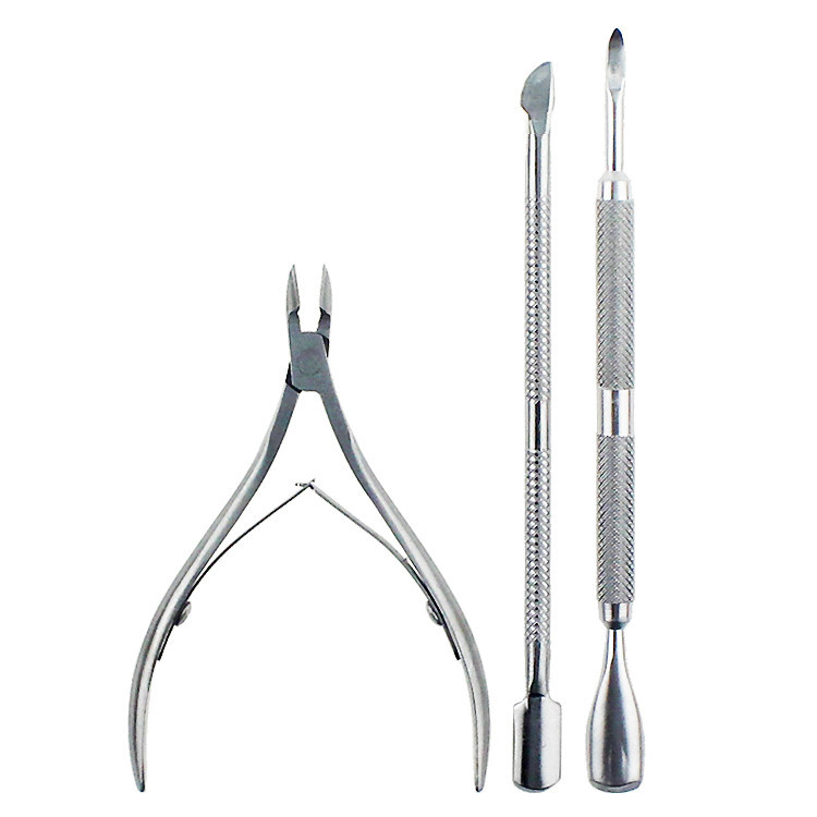 Cutter Nipper Clip Cut Set 3 Pcs Stainless Steel Nail Cuticle Pushers Spoon