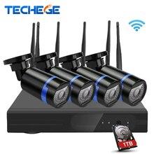 Techege 4ch беспроводной 1080 P nvr комплект p2p 720 P hd открытый ик ночного Видения Безопасности Ip-камера 1.0MP WIFI ВИДЕОНАБЛЮДЕНИЯ Система Подключи и играть