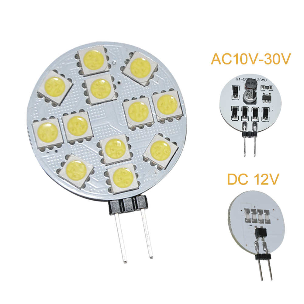 JYL 10pcs G4 12 5050 SMD Cabinet Marine Boat Reading LED Light Lamps 160-180lm 2W DC AC10V-24V Constant Current White Warm White