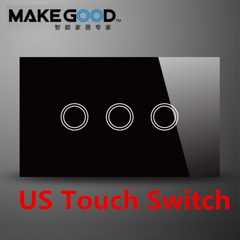 MakeGood US Standard Touch wall switch 3 speed 1 way, black and white crystal glass screen touch light switch AC 110-240V 6A