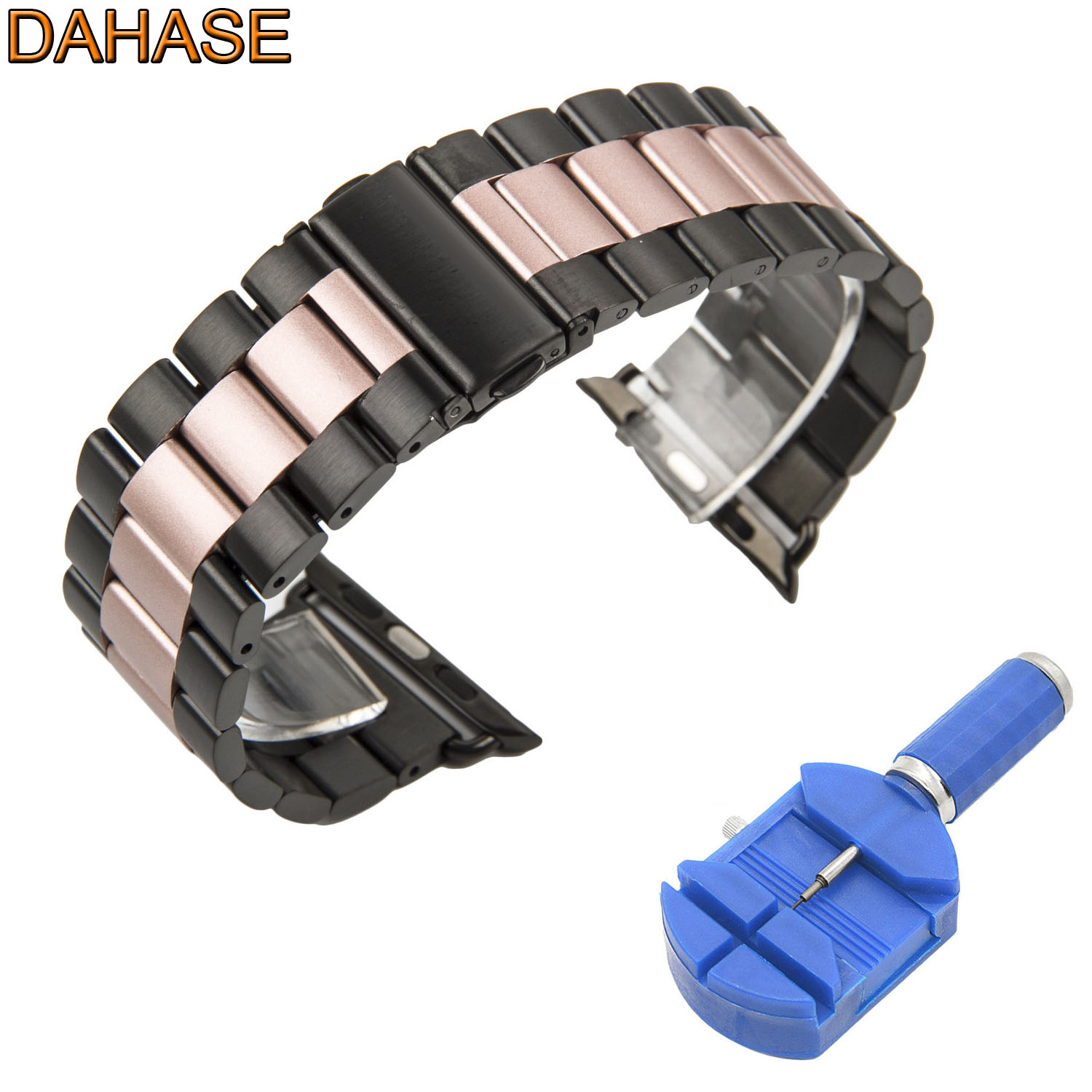 DAHASE Black Rose Stainless Steel Strap for Apple Watch Band for iWatch Series 1 2 3 Metal Watchband with Adapters 38mm 42mm new arrival for apple watch band high quality wooden watchband black brown strap for apple watch band series 3 2 1 42mm 38mm