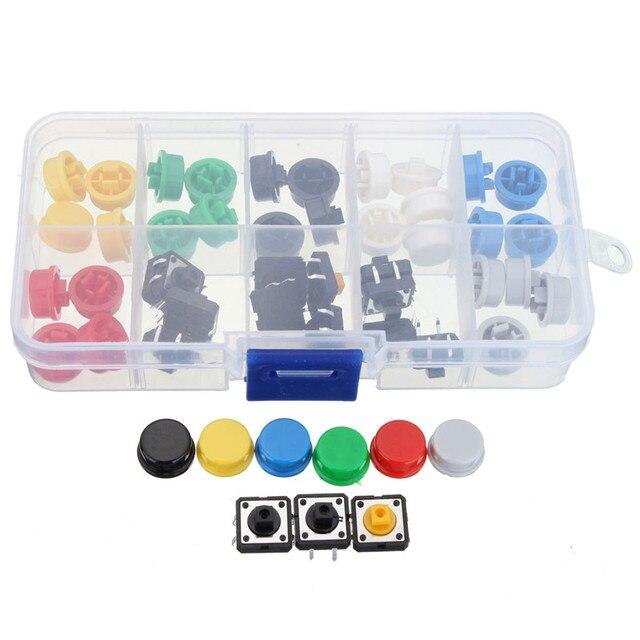 Taktile Drucktastenschalter Momentary Tact & Kappe 12x12x7,3mm Tastenkappen Assorted Kit Box Größe 130x65x22mm
