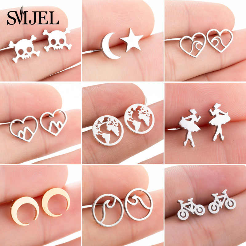 SMJEL Cartoon Mickey Earrings for Women Fashion Small World Map Stud Earrings piercing Girls Moon Everyday Jewelry