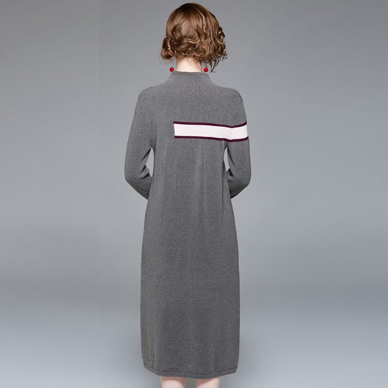 Full sleeve elastic knit wool sweater dress 2018 new stand neck women autumn straight dress in Dresses from Women 39 s Clothing