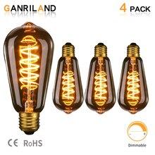 Ganriland ST64 Retro Edison Spiral Led Light Bulb E26 110V Lamps 3W E27 Filament Amber Glass 2200k Dimmable Decortive Globe Bulb