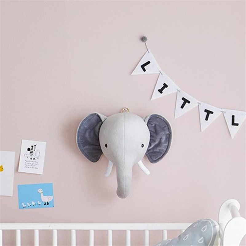 Animal Head Elephant Deer Fox Swan Lion Tiger Head For Baby Room Decor Baby Kids Bedroom Hangings Wall Decor Gifts