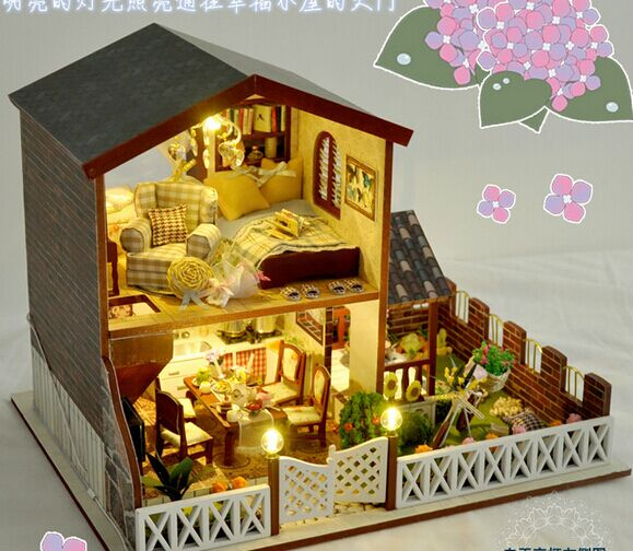 New arrive Christmas GIFT  DIY island holiday Wooden Doll House With Furniture Dolls with music 3D Puzzle DollHouse Toy Gifts 97pcs diy wooden tractor mechanical transmission model assembly puzzle toy for ugears gift