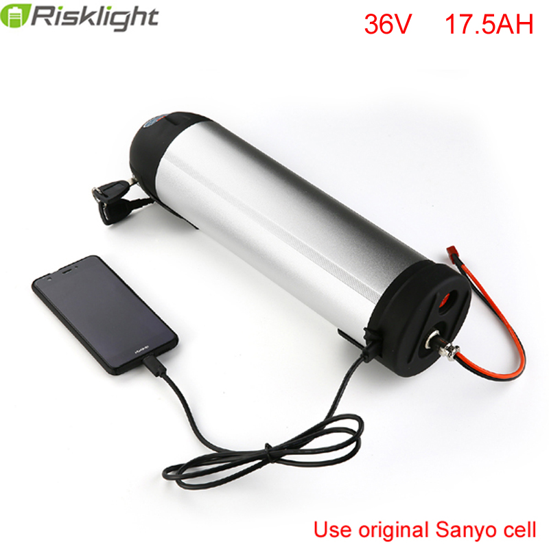 Free Tax Electric Bike Water Bottle Battery 36V 17.5Ah 500w Lithium Water Kettle Battery with Sanyo cell and BMS+Charger+5V USB 36v 8ah lithium ion battery 36v 8ah electric bike battery 36v 500w battery with pvc case 15a bms 42v charger free shipping