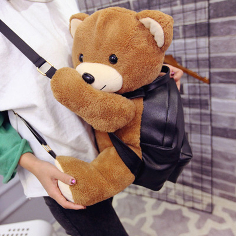 BATTLERLOVER Winter Girls Fashion Leather Backpack Plush Teddy Bear School Bag Famous Brand Womens Leisure Backpack Bag 2017 New