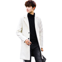 White Men's Windbreaker Jacket Fashion Business Casual Men Long Coats Young Slim Warm and Comfortable Clothing Khaki Blue Trench