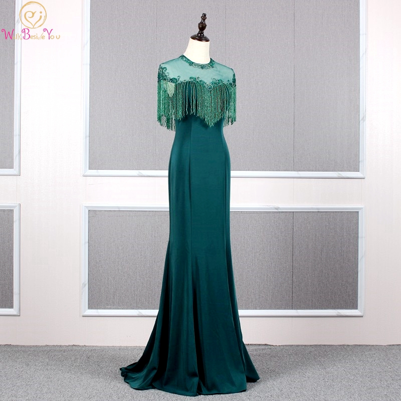Hunter Green Prom Dresses 2019 Beaded Jersey Mermaid Long Keyhole Back O Neck with Wrap Sweep Train Evening Gown Walk Beside You