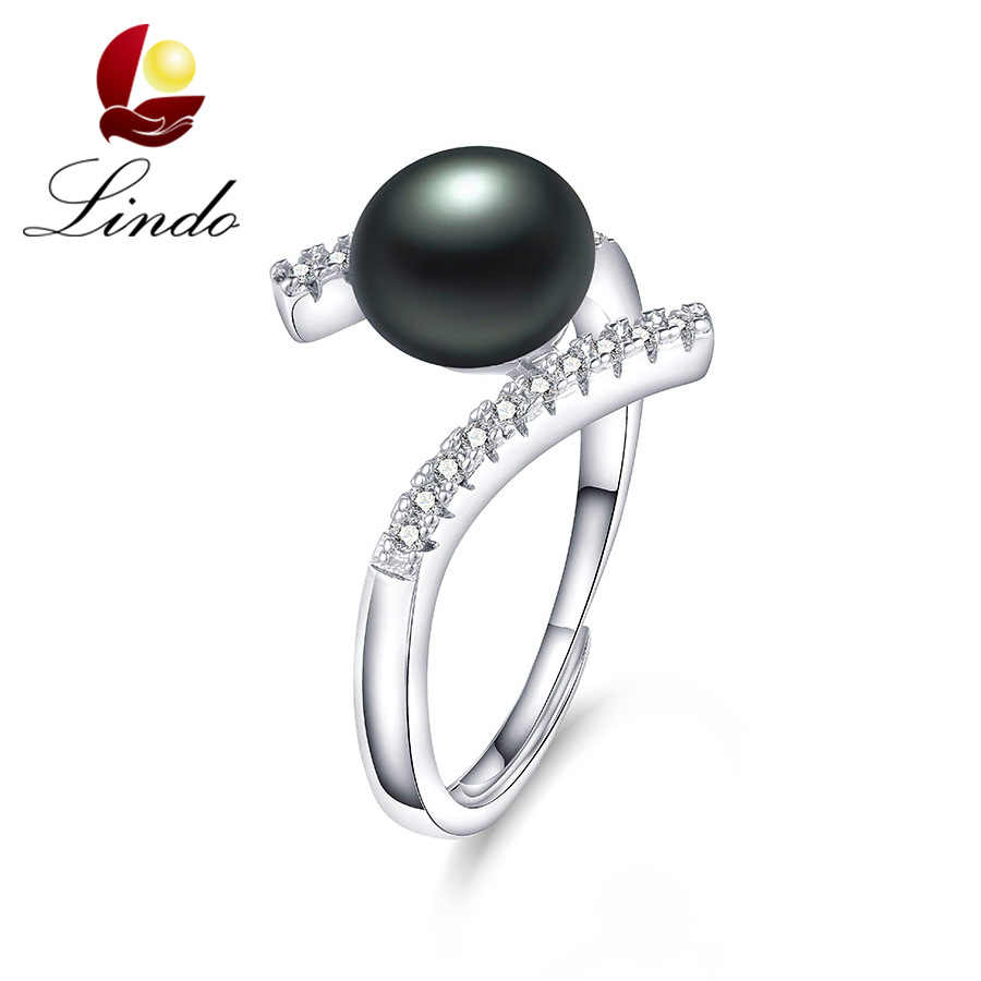 Highly Recommemd 100% Natural Freshwater Pearl Ring Silver 925 Rings Women Fashion Zircon Adjustable Wedding Jewelry With Box