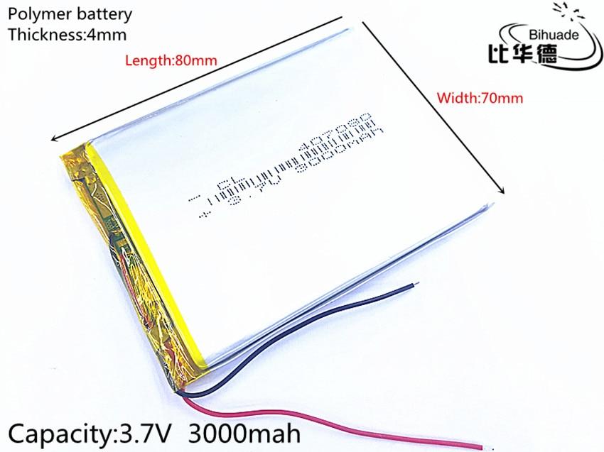 1 шт./лот литий-ионная батарея 3,7 v 3000mAh литий-полимерная батарея для Mp3 7 дюймов 8 дюймов gps NAV 407080