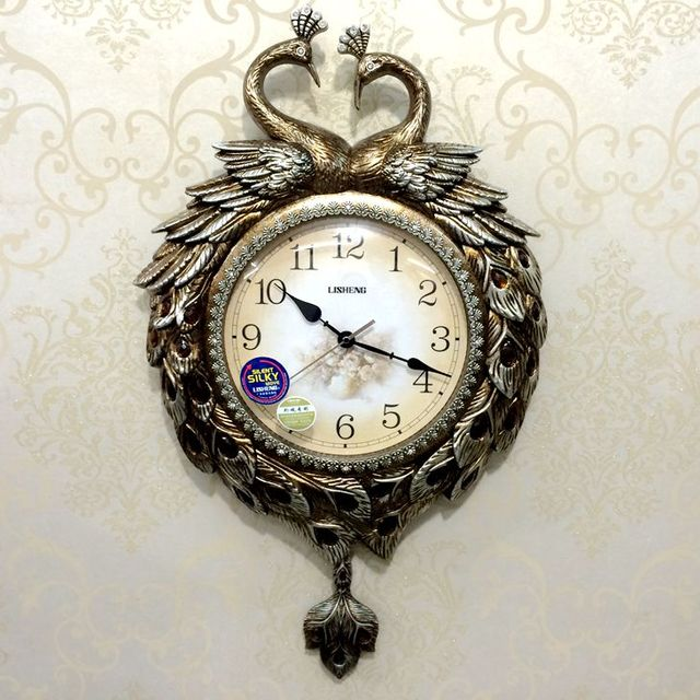 Peacock Clocks Big Wall Clocks Relogio De Parede Personality Pocket Watch  Mute Quartz Clock Decoration Wall