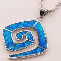 Синий огненный опал 925 пробы серебро Модные украшения кулон P159
