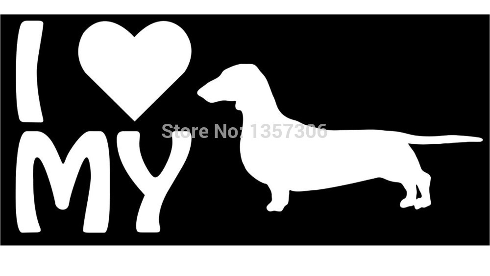 cool graphical love my dog lettering dacshund car window sticker truck bumper auto suv door vinyl decal 9 colors