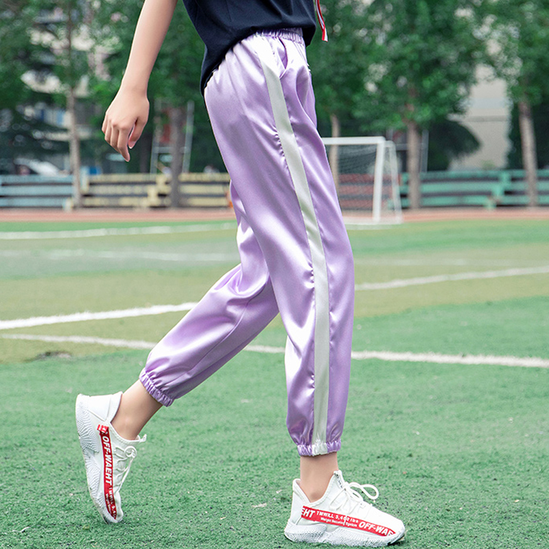2018 Summer autumn Women Satin Casual Harajuku Pink purple Vintage White Stitching Closed Comfy Sweatpants Trousers   Pants     Capris