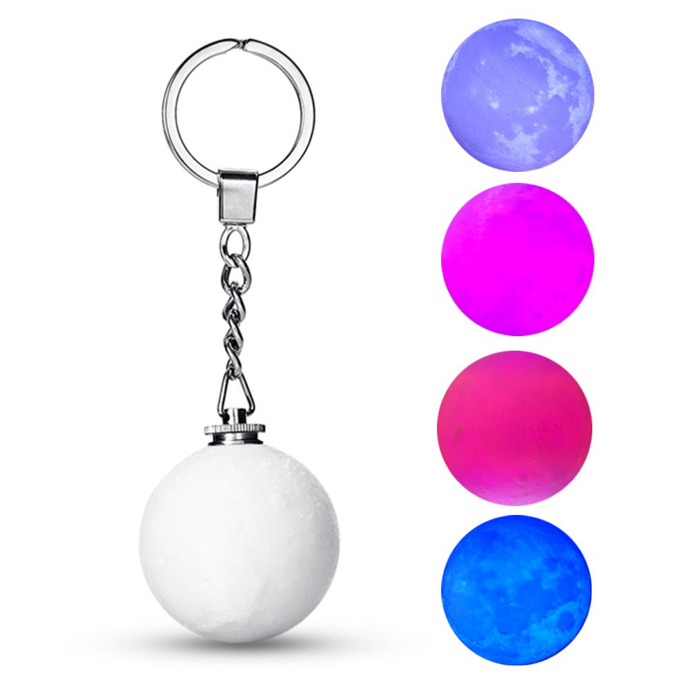 New 4cm Mini Moon Nightlights Creative Keychain Lamp Mini 3D Print Moon Light Battery Powered Lamp Good Gift For Xmas