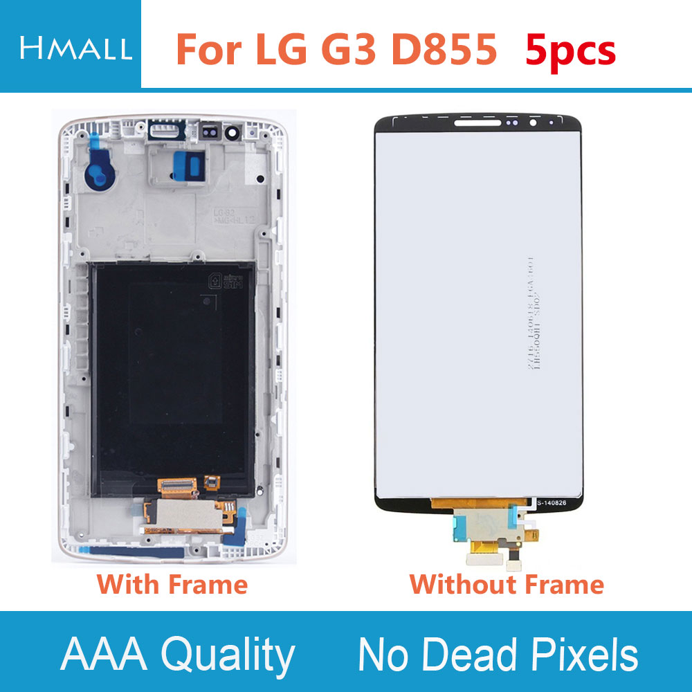 5 PCS LCD Display For LG G3 D855 Touch Screen With Digitizer with Frame Assembly Replacement White/Gold/Grey For LG D855 G3