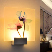 Simple Living Room Lamp Hotel Decoration Lamp Dragonfly Lotus Flower Printed Wall Light White/ Warm White