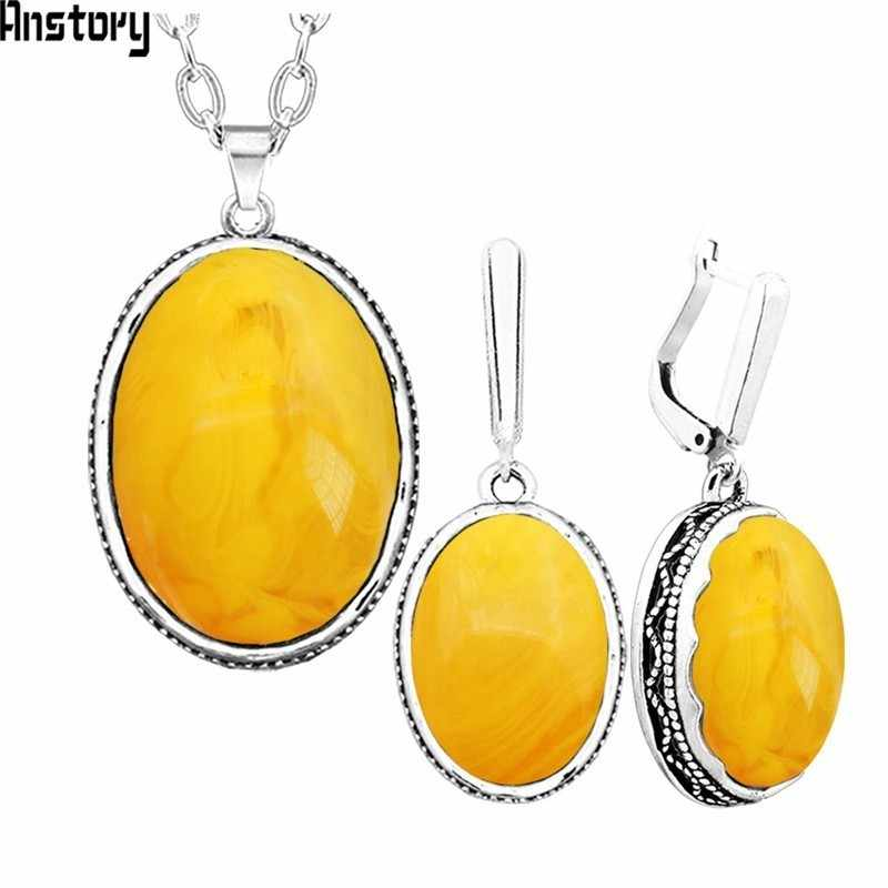 Anstory Simulated Beeswax Necklace Earrings Set Chokers Stainless Steel Chain Hollow Flower Pendant Fashion Jewelry