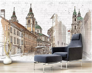 beibehang Custom size Hand painted European classic fashion thick silky wallpaper city Nordic background wall papers home decor wallpaper wallpaper city guide mexico city 2012