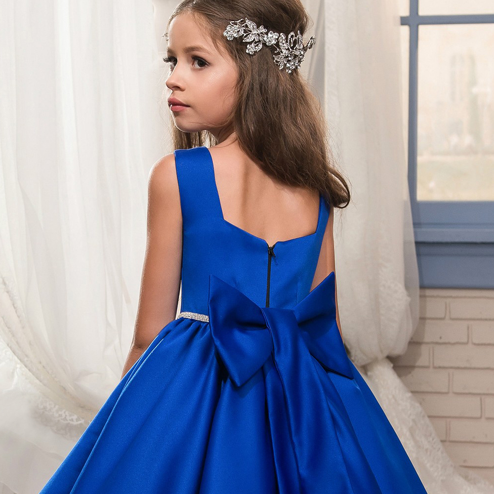 Classical Blue Flower Girls Dresses Spagetti Straps Ball Gown For