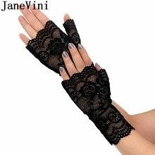 JaneVini Elegant Bridal Party Fingerless Wedding Gloves White Khaki Black Lace Brides Women Short Wrist Glove Gant Mariee