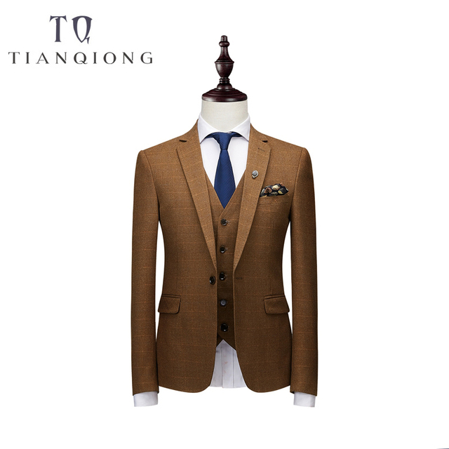 Brand Men Suit 2018 New Arrival Men Suit 3 Pieces Classic Plaid Suits Men Business Wedding Suits Slim Fit Men Tuexdo Party Dress