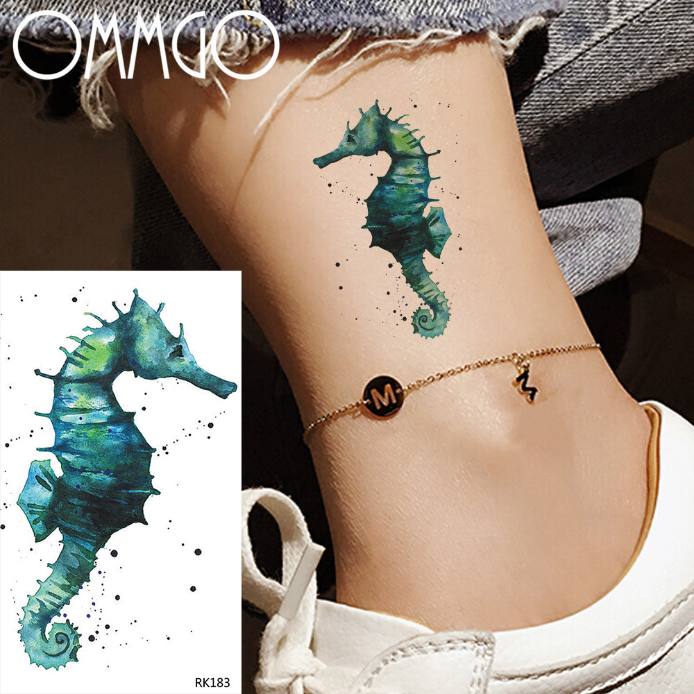 OMMGO Small Cartoons Colorful Seahorse Temporary Tattoos For Women Waterproof Tatoos Kids Sticker Fake Green Tattoo Paper Art