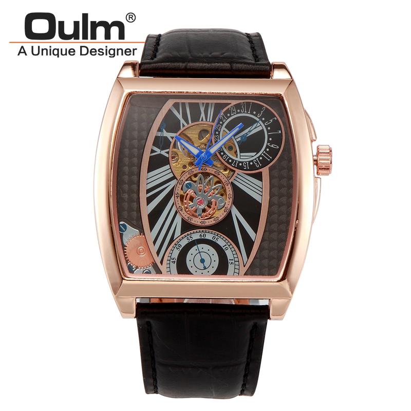 Oulm Brand Mens Rectangle Leather Strap Hand Wind Mechanical Watch Fashion Casual Wristwatches With Gift Box Relogio Releges oulm brand mens leather band japan movt quartz watch dual time zone fashion hit color wristwatches with gift box relogio releges