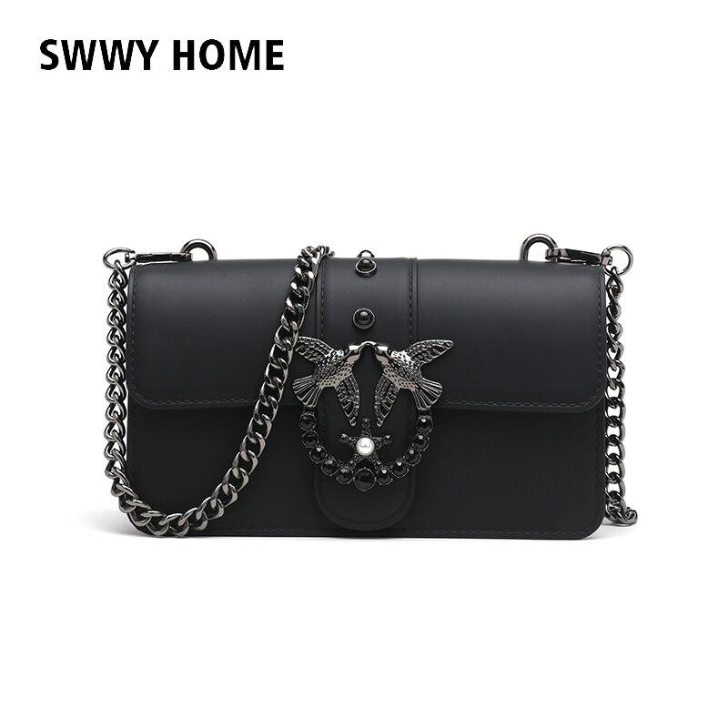 1e3a81cdeff0 Swallow 2018 Female Brand Hand Bag Woman Messenger Bags Lady Rivet chain  Women Fashion Leather Shoulder