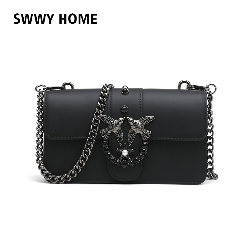 все цены на Swallow 2018 Female Brand Hand Bag Woman Messenger Bags Lady Rivet chain Women Fashion Leather Shoulder Bag Girl Crossbody Bags