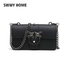 Swallow 2018 marca feminina saco de mão mulher sacos do mensageiro senhora  cadeia rebite mulheres moda couro bolsa ombro menina . 4ac583aa910