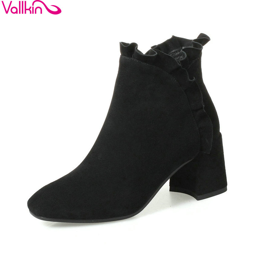 VALLKIN 2018 Women Boots Elegant Pointed Toe Square High Heels Ankle Boots Short Plush/PU Lining Black Ladies Boots Size 34-42 esveva 2018 high heels women boots short plush boots square heels elegant chunky pointed toe ankle boots ladies shoes size 34 39