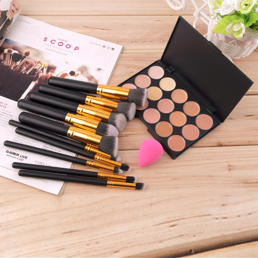 10 pcs Professional Eye Makeup Brushes Set Kit Wood Brush + 15 Colors Concealer Palette + Sponge Puff 2017 Cosmetic Make Up Tool sweet plus size scoop neck flounce sleeves chiffon blouse for women