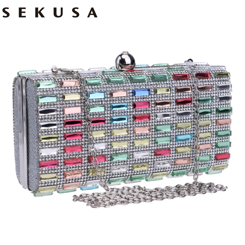 SEKUSA Acrylic Women Evening Gag Diamonds Metal Day Clutches With Chain Shoulder Purse Evening Bag For Wedding Party Dinner