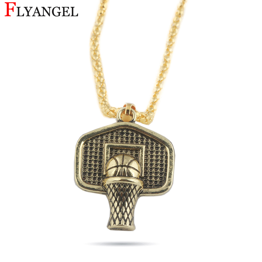 New Gold Color Men Boyfriend Exercise Fashion Gift Jewelry Basketball Into The Box Mini Ball 55cm Chain Alloy Pendant Necklace