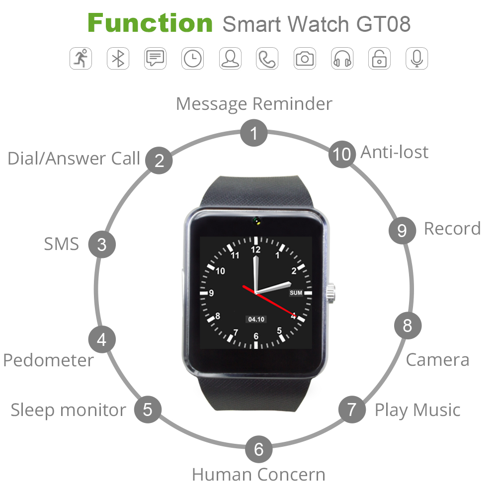 Original Smart Watch GT08 Clock Sim Card Push Message Bluetooth Connectivity For Android IOS apple Phone PK Q18 DZ09 Smartwatch (11)