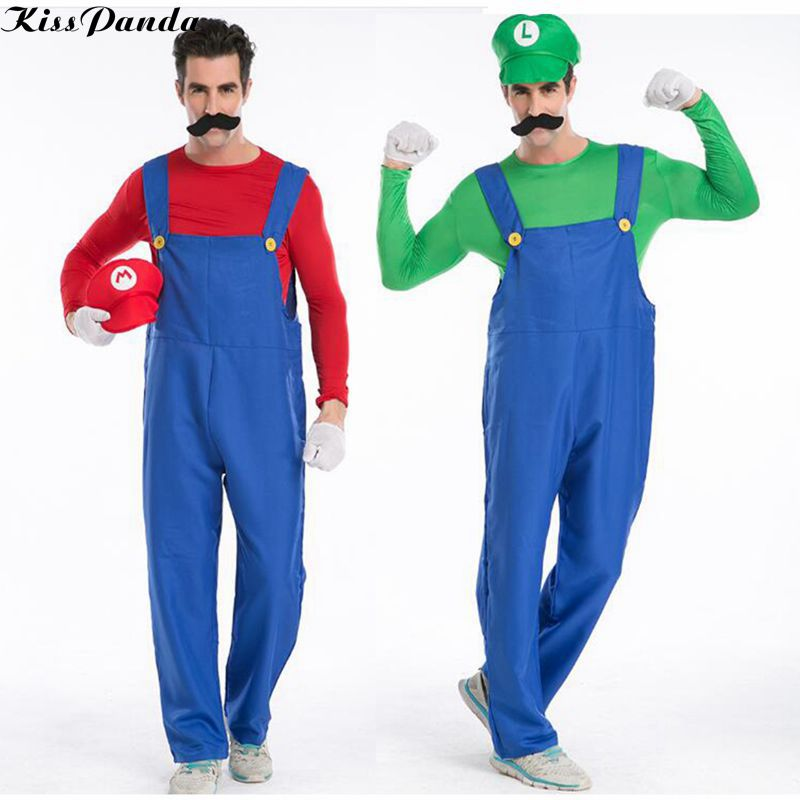 halloween costumes men super mario luigi brothers plumber costume jumpsuit fancy party cosplay clothing for women - Koopa Troopa Halloween Costume
