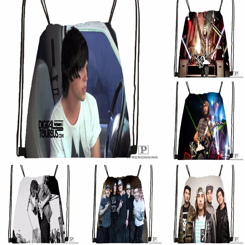 Custom Sleeping With Sirens Music Drawstring Backpack Bag Cute Daypack Kids Satchel (Black Back) 31x40cm#180531-03-50