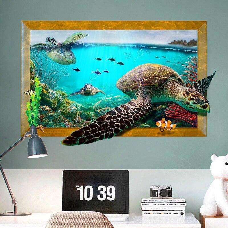 3D Fenster Wandaufkleber Ozean Schildkröte Aufkleber Wohnzimmer Badezimmer Kinderzimmer  Dekoration Abnehmbare Poster Kinderzimmer Dekor Aufkleber