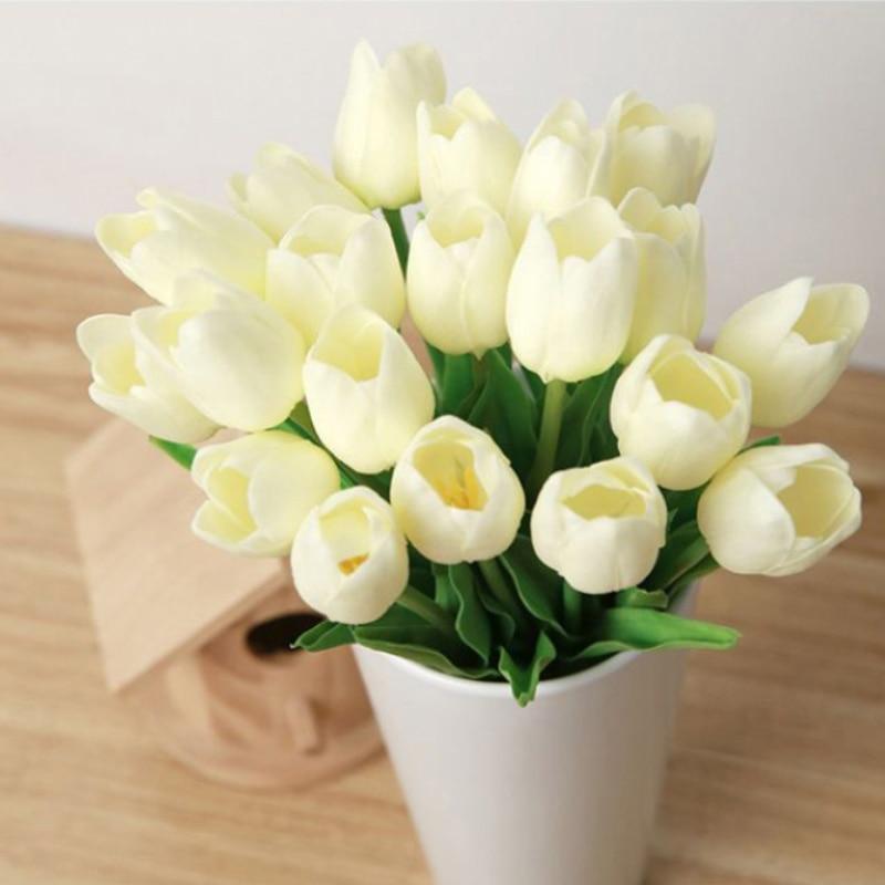 10pcs Artifical Real  PU Tulips Flower Single Stem Bouquet Room Home Decor