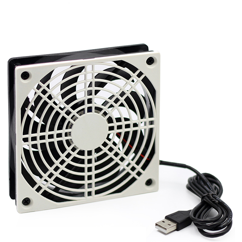 High speed quiet fan 120mm USB 5V plastic mesh router radiator, suitable for broadband cat. TV set-top box cooling support frame bt sport minimum broadband speed