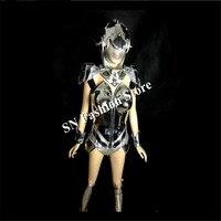 AS008 серебро Танцы платье/зеркало костюмы бюстгальтер костюм Штаны Кристалл швейных машин одежда Party DJ диско бар Бальные Одежда