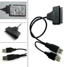 SATA 22Pin + Dual USB 2.0 Adapter Cable For 2.5 HDD Laptop Hard Disk Drive Black EL6209