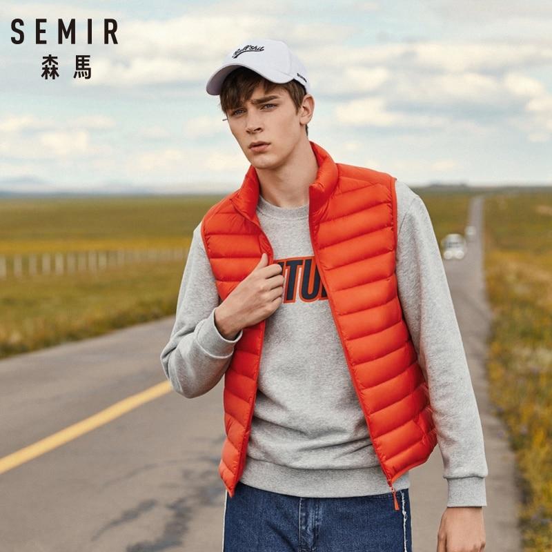 SEMIR Homens Compactáveis Soprador Colete com Stand-up Colarinho Homens Colete Acolchoado Para Baixo Leve Colete para Homens Zip- up Vest Roupas de Inverno